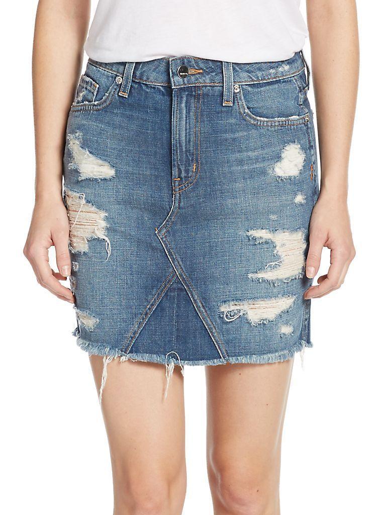 Genetic Los Angeles Women's Gordon Distressed Denim Mini Skirt 27  265