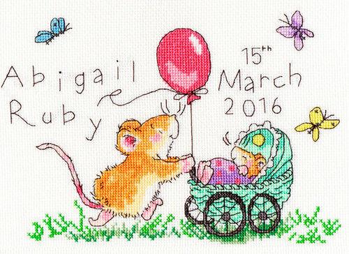 Squeaky Wheels Birth Sampler Newborn Baby Girl Boy Counted Cross Stitch Kit