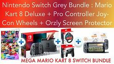 Nintendo Switch Console Grey MEGA BUNDLE + MARIO KART + Pro Controller + Wheels