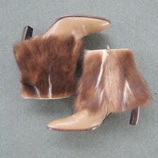 Size 8 / 38 Fendi Ankle Boots Brown Fur Zipper Heel Shoes Made in Italy Winter