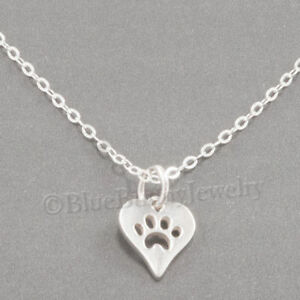 Tiny-PAW-PRINT-IN-HEART-Charm-Pendant-STERLING-SILVER-Necklace-925-xs-Small-18-034