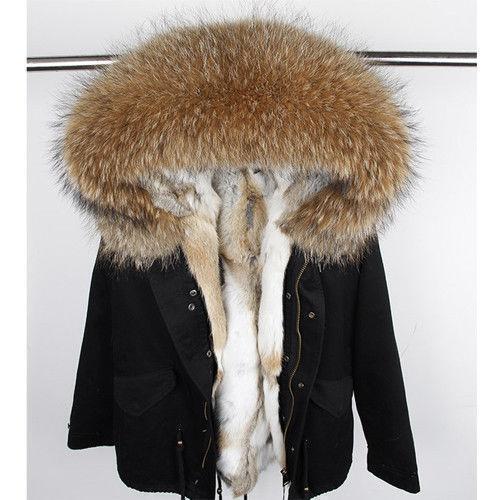 Parka Winter Hooded Fashion Women's Jacket Collar Lined Vogue Fur Coat Rn8vt