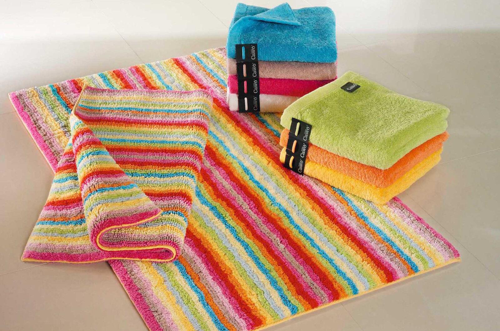 CAWÖ Badteppich 7008 bunt Lifestyle Badematte Badvorleger 3 Größen Baumwolle NEU