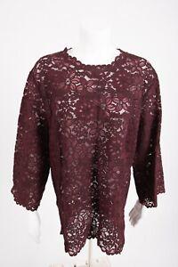 Zara-Womens-Lace-Blouse-Shirt-Top-Floral-Burgundy-Maroon-Semi-Sheer-2731-242-NWT