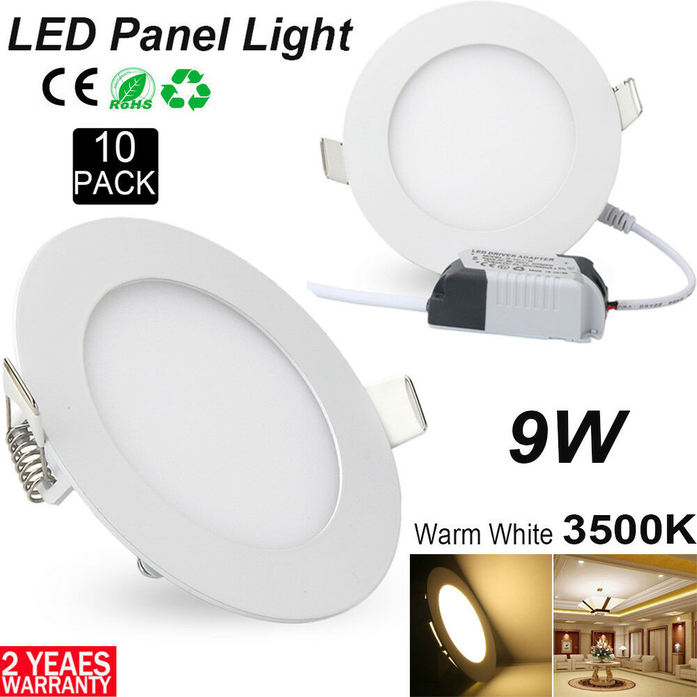 10pcs regulable 9w alrojoedor del panel LED Light montaje instalación luz blancoo cálido ultra slim