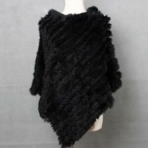 Warn And Black One Never Fur Rabbit Poncho Warm Size Soft pnqwIHx4