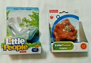 Dolphin-Orangutan-Toy-Figure-Figure-Little-People-Animal-Childs-Toy-Set-of-2