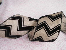 Burlap and Black Velvet Chevron Ribbon, 2 1/2 In Wide, Wired Edge, 3 YARDS
