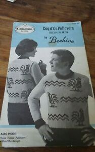 Vtg-Beehive-knitting-pattern-1016-teenager-youth-coq-d-039-Or-pullovers-sz-14-20