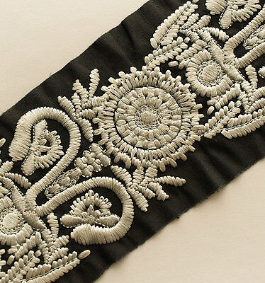 Large Flowers Sewing Trim Embroidered Ribbon  Shades of Gray on Black 3 Yards
