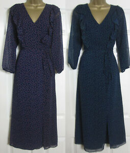Nuevo-Oliver-Bonas-para-Mujer-Vestido-De-Te-Midi-Con-Lunares-Azul-Marino-Rosa-Verde-6-16