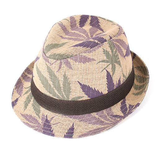 "Men Women Summer Beach Fedora Hat For Unisex w//Linen /""Made In Korea/"" Pruple Colr"