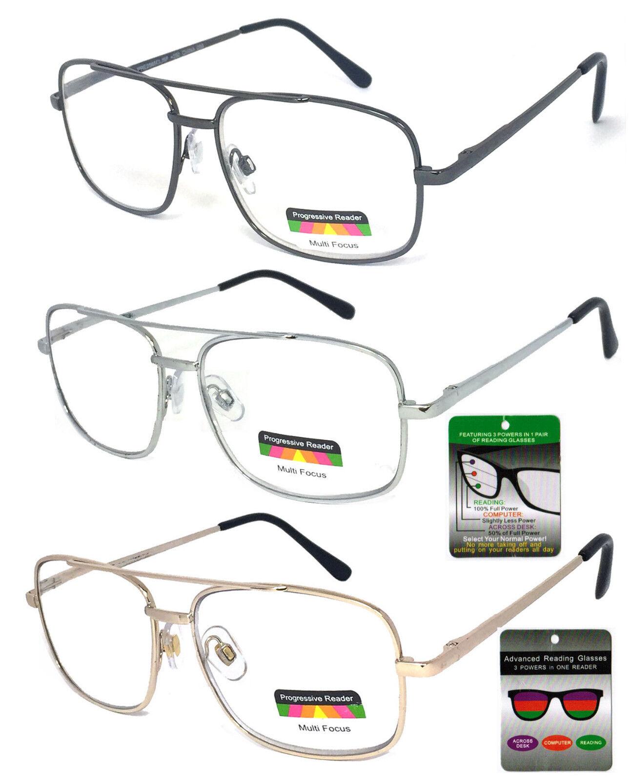 53c94d4b76d No Line Multi Focal Reading Glasses Clear Lens Aviator Spring Hinge ...
