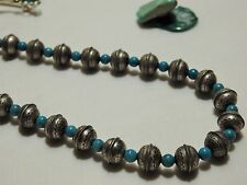 """16"""" NAVAJO PEARLS Stamped STERLING Silver 8mm BENCH Bead & TURQUOISE NECKLACE"""