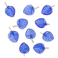 Shiny Dark Blue Glass Leaf Charm Pendants 16x12mm Pack of 10 (B65/7)