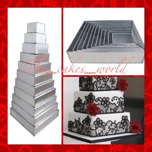 Wedding Cakes Pans.Details About 11 Tier Square Wedding Cake Tins Pans 4 5 6 7 8 9 10 11 12 13 14