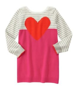1518dc464d7 Image is loading Gymboree-NWT-Valentines-Day-heart-sweater-dress-size-