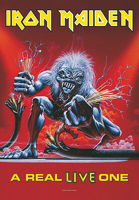 """IRON MAIDEN FLAGGE / FAHNE """"A REAL LIVE ONE"""" POSTER FLA"""