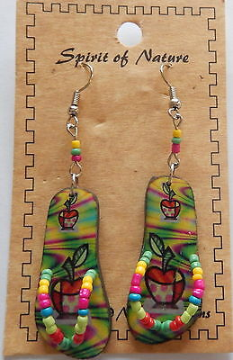 Spirit of Nature Earrings flip flops -apples-pink-green yellow