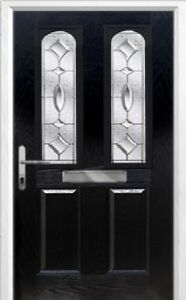 2 Panel 2 Arch Zinc/Brass Art Clarity Composite Front Door in BlackVarious sizes