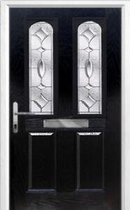 2 Panel 2 Arch Zinc/Brass Art Clarity Composite Front Door in BlackVarious sizes