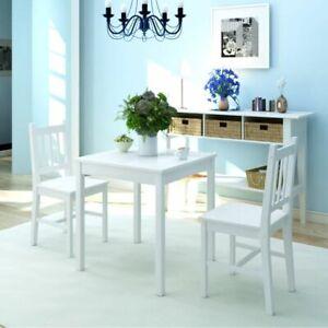 Dettagli su vidaXL Set da Pranzo 3 pz Tavolo e Sedie Sala Cucina Legno di  Pino Bianco