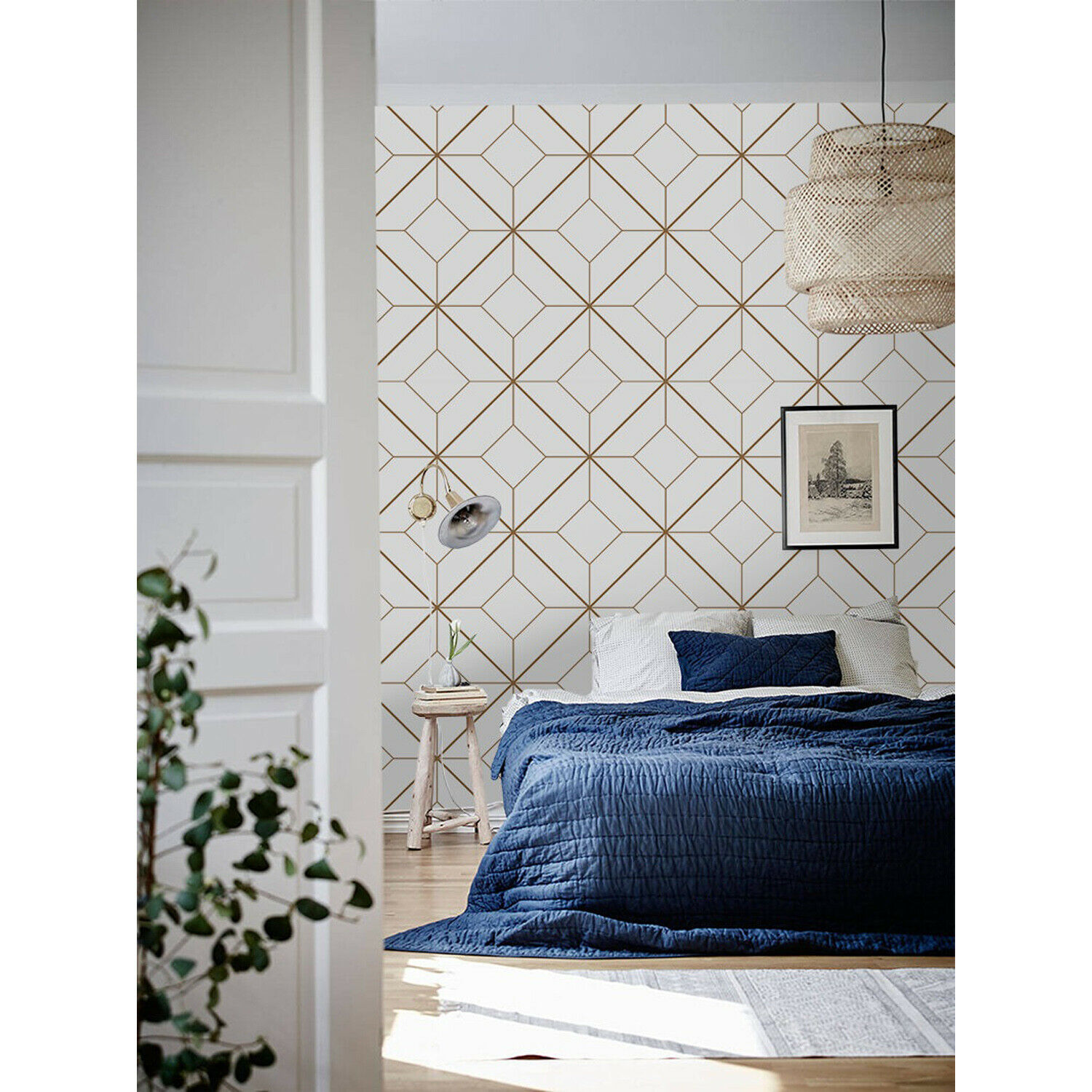 Geometric Non-woven wallpaper Golden and Weiß Home wall mural photo mural