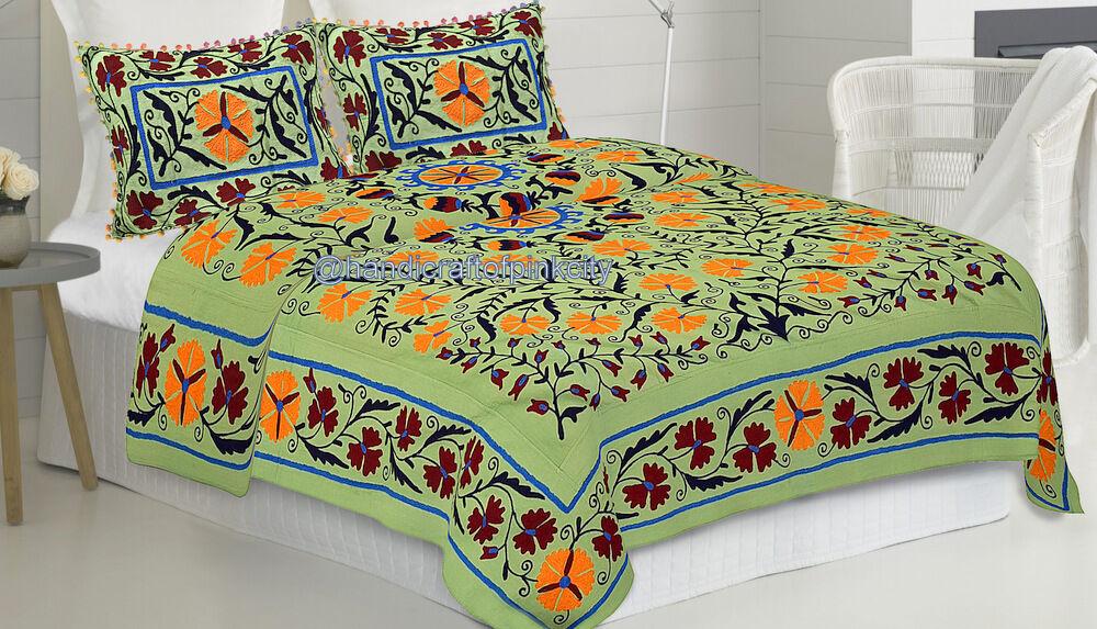 Queen Uzbekistan Embroidered Floral Cotton suzani bed cover Bedspread  3 pcs Set