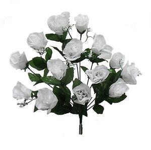 84 Long Stem White Roses Buds ~ Silk Wedding Flowers Centerpieces Bridal Bouquet
