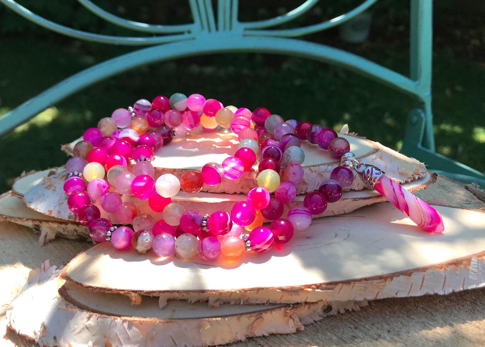 Mala Kette 108 Perlen Achat Stift Achat 8mm pink Buddha Mala Gebetskette