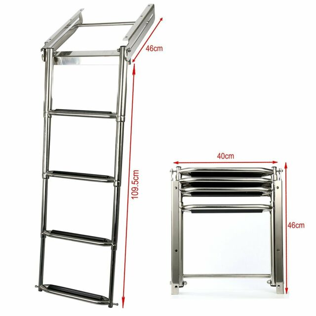 4-step Telescopic Wide Steps Under Platform Slide Mount Boat Telescoping Ladder