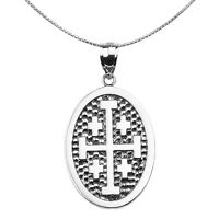 Sterling Silver Jerusalem Cross Engravable Oval Pendant Necklace