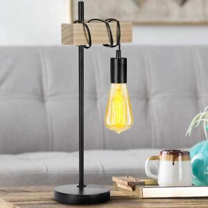 Lampada Da Tavolo Legno E Metallo Design Moderno Industriale Lampadina E27 25w Ebay