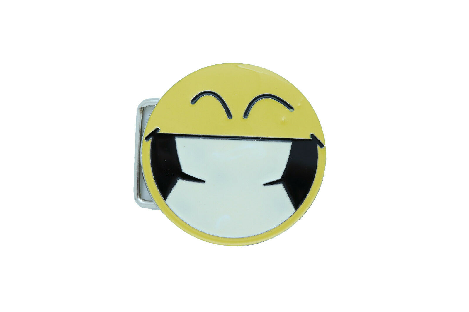 Women Belt Buckle Silver Metal Yellow Smiley Big Face Eyes Emoji Casual Day Wear