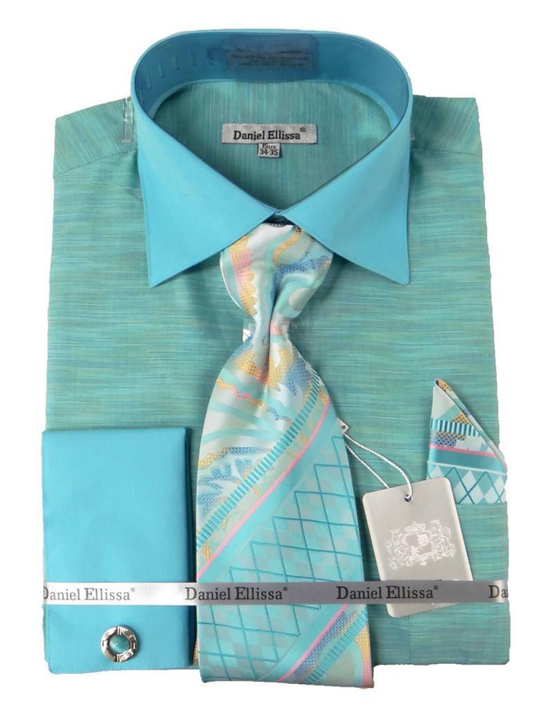 New Daniel Ellissa Spread Collar French Cuffs Mint Dress Shirt & Tie DS2014P2