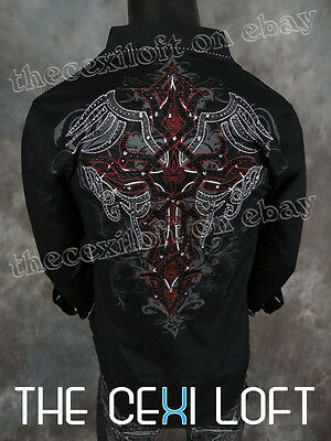 VICTORIOUS Black Wing Wrapped Crystal Embroidered Button Shirt ROAR with Class!