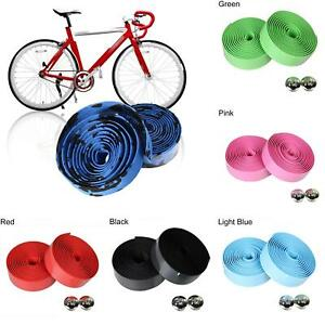Handlebar Anti-Skid Bicycle Road Bike Sports Cork Grip Wrap Ribbon Tape Bar Plug