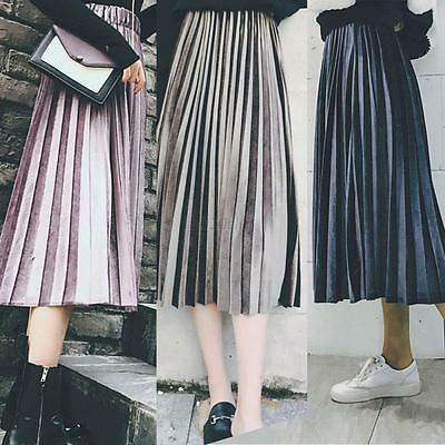 Vintage Womens Long Skirt Stretch High Waist Skater Flared Pleated Swing Dress