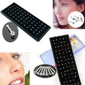 60Pcs-Crystal-Rhinestone-Bone-Stud-Stainless-Steel-Body-Piercing-Nose-Jewelry