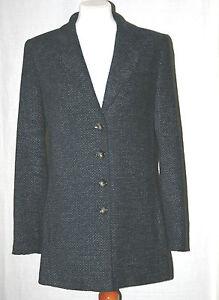 Veste Collection gris Noir avec doublée uk12 entièrement Olsen laine 20 bleu Eu40 wYdqBxxp