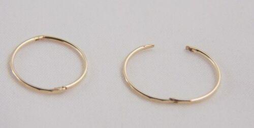 9ct Gold 16mm FACETED HINGED HOOP SLEEPER EARRINGS PAIR Mum/'s X/'Mas GIFT BOX NEW
