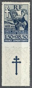 France-1943-MNH-Mi-6Zf-Sc-B1-Resistance-Fighters-French-Committee-of-Liberation
