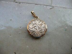 pendentif porte photo ancien plaqué or
