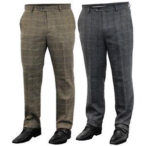 Mens-Wool-Mix-Trousers-Cavani-Tweed-Herringbone-Checked-Pants-Office-Work-New