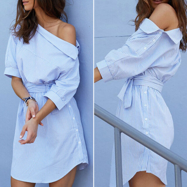 Women's off Shoulder Shirt Dress Short Sleeve Striped Summer Casual Sundress