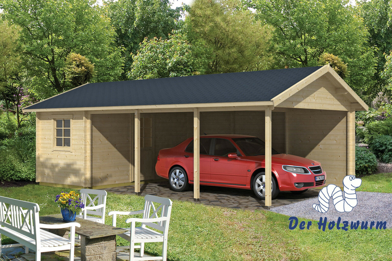 carport ever mit ger teraum 770x430cm garage holz einzelcarport unterstand haus ebay. Black Bedroom Furniture Sets. Home Design Ideas