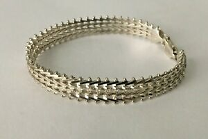 Vtg-Solid-Sterling-Silver-Chevron-Weave-Riccio-7-25-in-Bracelet-925-Italy-mesh-7