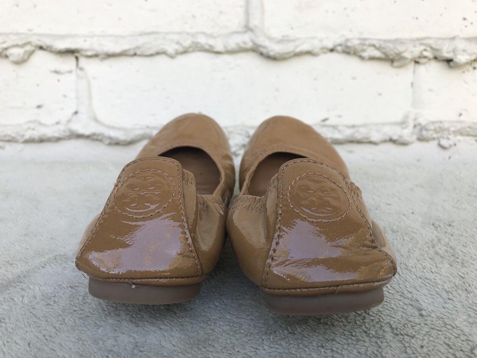 EUC Tory Burch EDDIE on Tan Patent Leder Slip on EDDIE Ballet Flats Damens Größe US 6 M e38325