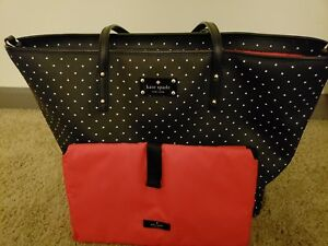 Details About Kate Spade Black And White Polka Dot Diaper Bag