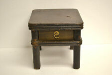 Unique Design Asian Chinese  Wood Small Square Stool w/ drawer 17-417b